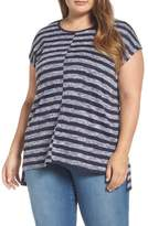 Vince Camuto Uneven Stripe High/Low Tee