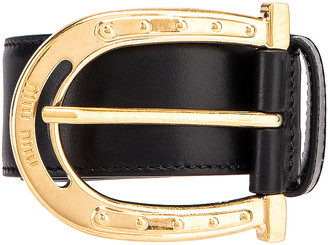 Miu Miu Leather Belt in Black | FWRD