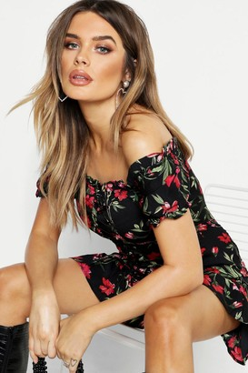 boohoo Floral Chiffon Off The Shoulder Mini Dress
