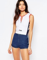 Fila Fitted Crop Top With Zip Front Detail