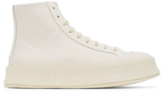 Jil Sander Off-White Vulcanized High-Top Sneakers