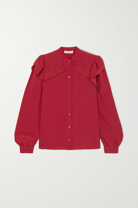 Chloé Ruffled Pintucked Silk Crepe De Chine Blouse - Red