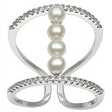 FINE JEWELRY 3-4Mm Cultured Freshwater Button Pearl And Lab Created Cubic Zirconia Sterling Silver Ring