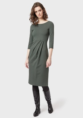 Emporio Armani Milano Stitch Fabric Dress With Darts At The Waist And Three-Quarter Sleeves