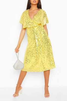 boohoo Bridesmaid Sequin Cape Detail Midi Dress
