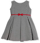 Helena Geometric Print Dress w/ Red Trim, Size 2-6