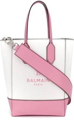 Balmain Logo Print Two-Tone Tote Bag