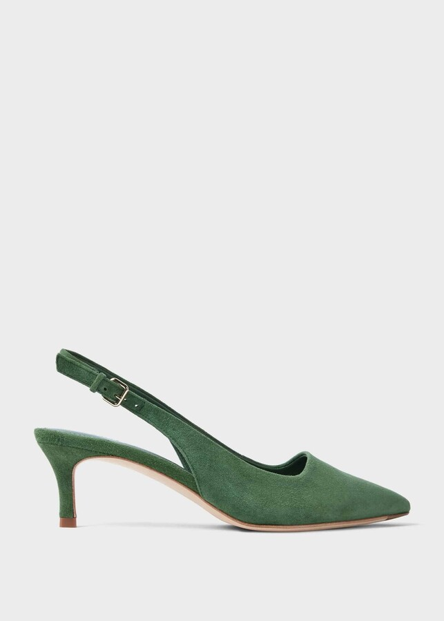 Hobbs Kiera Suede Kitten Heel Slingbacks Court Shoes