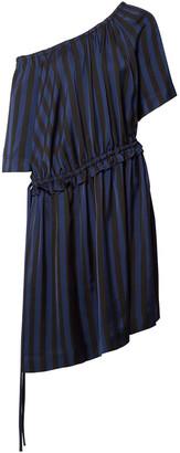Kenzo One-shoulder Striped Satin-jacquard Dress
