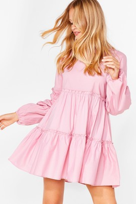 Nasty Gal Womens What Brings You Tier Relaxed Mini Dress - Baby Pink