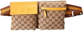 Gucci Brown Gg Canvas & Yellow Leather Waist Pouch
