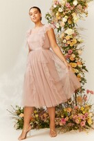 Thumbnail for your product : Coast Curve Shoulder Ruffle Mesh Pleated Midi Dress