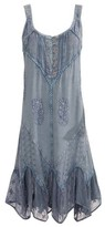 Coline Women's Casual Dresses SILVERBLUE - Silverblue Embroidered Tie-Back Sleeveless Dress - Women