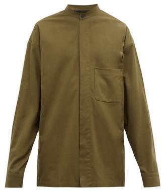Haider Ackermann Patch-pocket Brushed Cotton-twill Shirt - Mens - Khaki