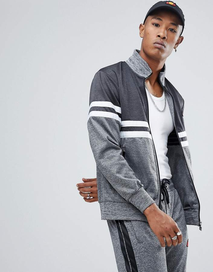 Ellesse Poly Tricot Track Jacket With Contrast Panel In Gray