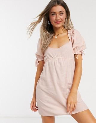 Miss Selfridge linen mini dress in pink