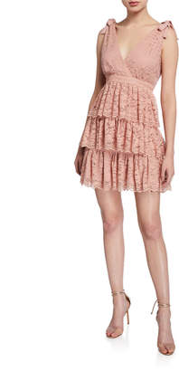 Bardot Roxie Sleeveless Tiered Lace Mini Dress