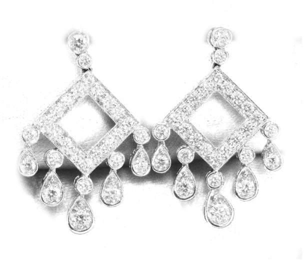 Tiffany & Co. Platinum Legacy Open Square Diamond Drop Earrings