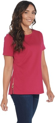 BROOKE SHIELDS Timeless Ponte Short-Sleeve Top with Side Zipper Details