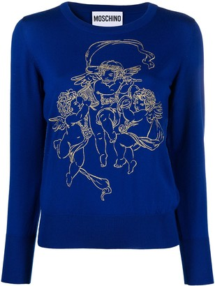 Moschino Angel Motif Embroidered Jumper