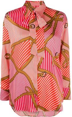 MSGM striped belt print shirt