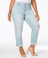 American Rag Trendy Plus Size Ripped Zuly Wash Cropped Jeans, Only at Macy's