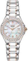 Citizen Women's Eco-Drive Signature Diamond (3/8 ct. t.w.) Ceramic Two Tone Stainless Steel Bracelet Watch 29mm EW2196-52D