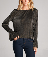 Tua Dark Bronze Flare-Sleeve Boatneck Top