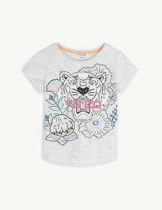 Kenzo Tiger flower graphic cotton-blend T-shirt 4-14 years
