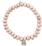 Sydney Evan Diamond Clover Charm On Salmon Moonstone Beaded Bracelet