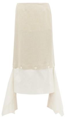 Lanvin Buttoned Handkerchief-hem Linen-twill Skirt - Cream