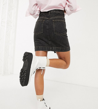 Collusion ripped denim skirt in washed black
