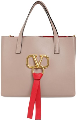 Valentino Small V Ring E/W Leather Tote Bag