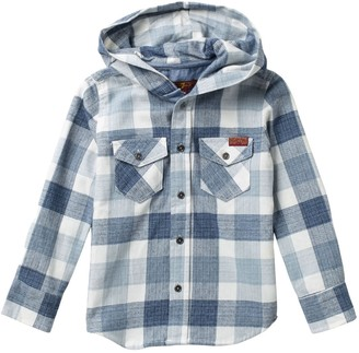 7 For All Mankind Hooded Long Sleeve Plaid Flannel Shirt (Little Boys)