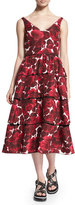 Marc Jacobs Sleeveless Hibiscus-Print Tiered Dress, Pink