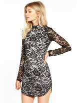 AX Paris Petite Long Sleeve Lace Curve Hem Mini Dress