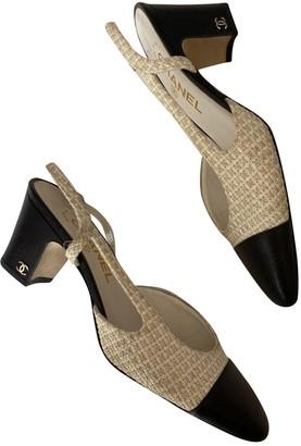 Chanel Slingback White Tweed Heels