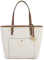 MICHAEL Michael Kors Large Top Zip Pocket Tote Bag Cream