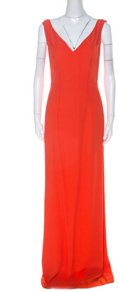 Boss By Hugo Boss Orange Crepe V-Neck Long Sleeveless Dress M