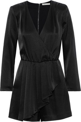 Alice + Olivia Demi Wrap-effect Pleated Satin Playsuit