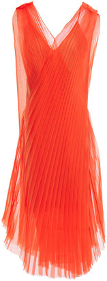 Lanvin Layered Pleated Silk-organza Midi Dress