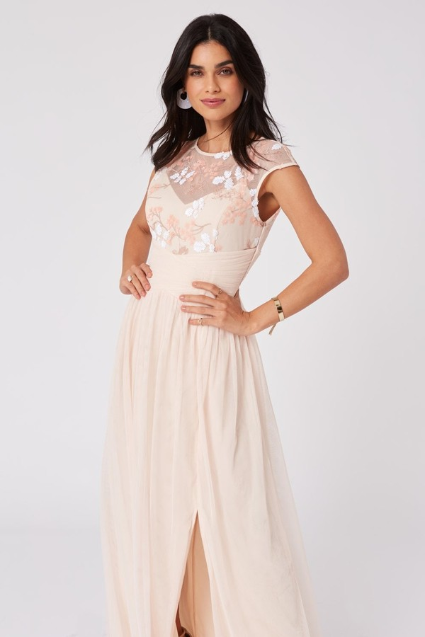 Thumbnail for your product : Little Mistress Bridesmaid Cindy Nude Floral-Embroidered Maxi Dress
