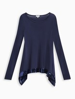 Splendid Girl Knit Top with Sequins Trim