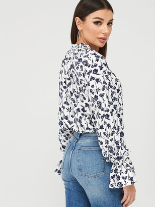 Missguided Floral Plunge Bodysuit - White