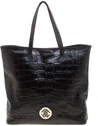 Roberto Cavalli Black Croc Embossed Leather Tote