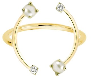 KatKim Pearl and Diamond Harpe Ring