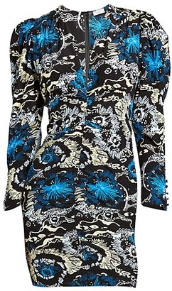 A.L.C. Roxy V-Neck Long-Sleeve Printed Dress