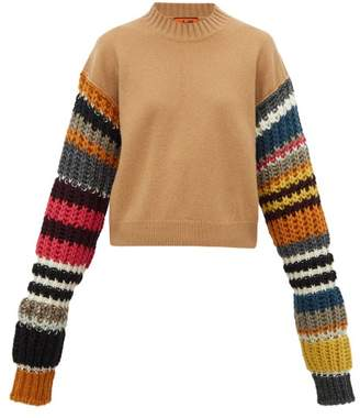 Colville - Striped-sleeve Wool-blend Sweater - Womens - Brown Multi