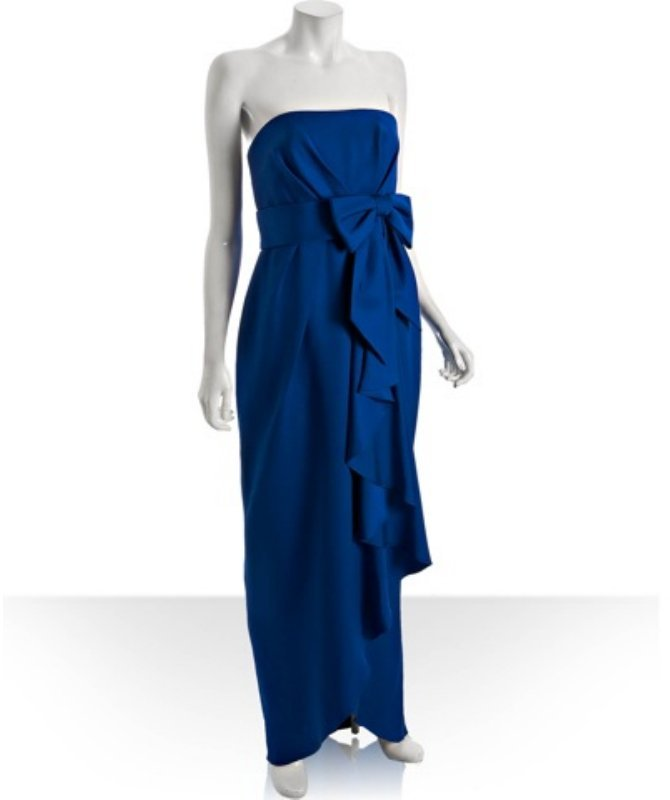 Notte by Marchesa royal blue silk bow detail strapless gown