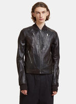Rick Owens Cropped Chevron Horse Leather Bomber Jacket in Purple